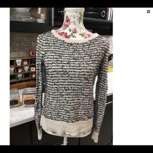 Ann Taylor Loft Cream & Black Sweater sz Small